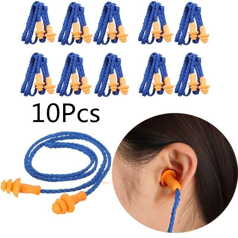 ESCAM-سدادات أذن سلكية من السيليكون ، ناعمة ، قابلة لإعادة الاستخدام ، حماية للسمع ، تقليل الضوضاء ، حماية الأذن ، 10 قطعة