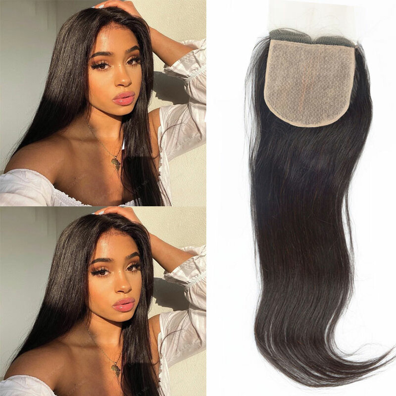 5x5 الحرير قاعدة 100% شعر الإنسان الحرير قاعدة حريري مستقيم الحرير قاعدة خصلات شعر مفرودة جزء الحرة للنساء اللون الطبيعي