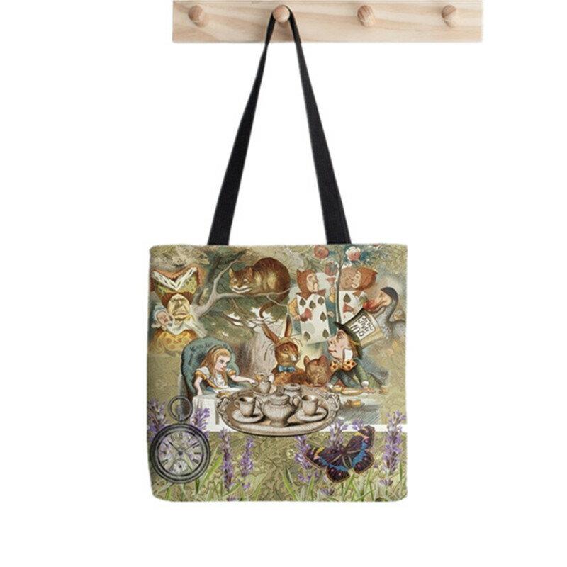 حقيبة كاواي مطبوعة للسيدات من أليس في بلاد العجائب حقيبة تسوق من القماش الكتاني Harajuku حقيبة يد للبنات حقيبة كتف للسيدات