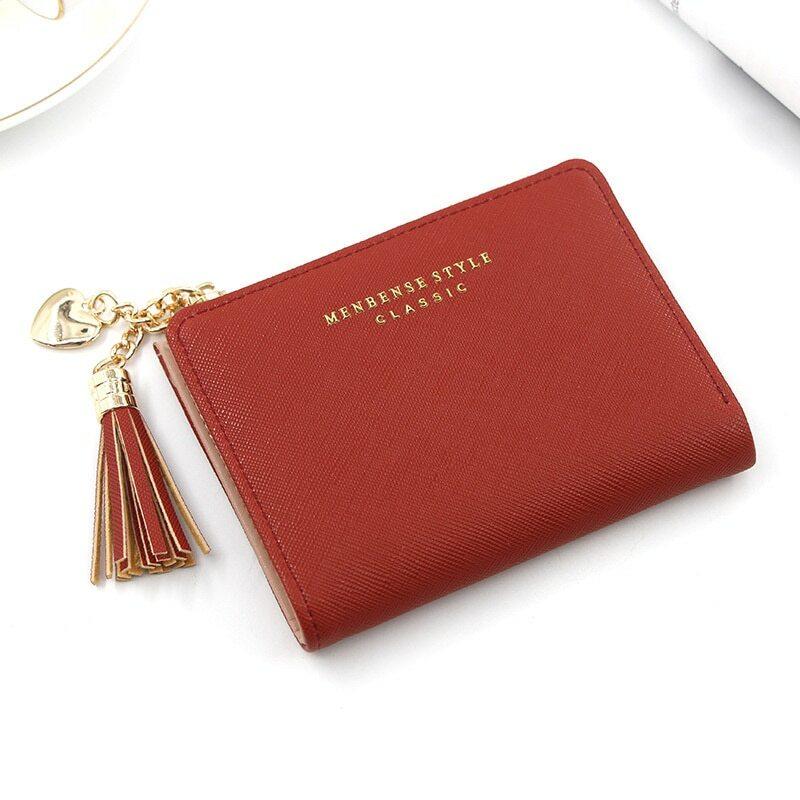 محفظة نسائية صغيرة مزينة بشراشيب موديل 2021 محفظة نسائية قصيرة من الجلد محافظ بسحاب محفظة نسائية