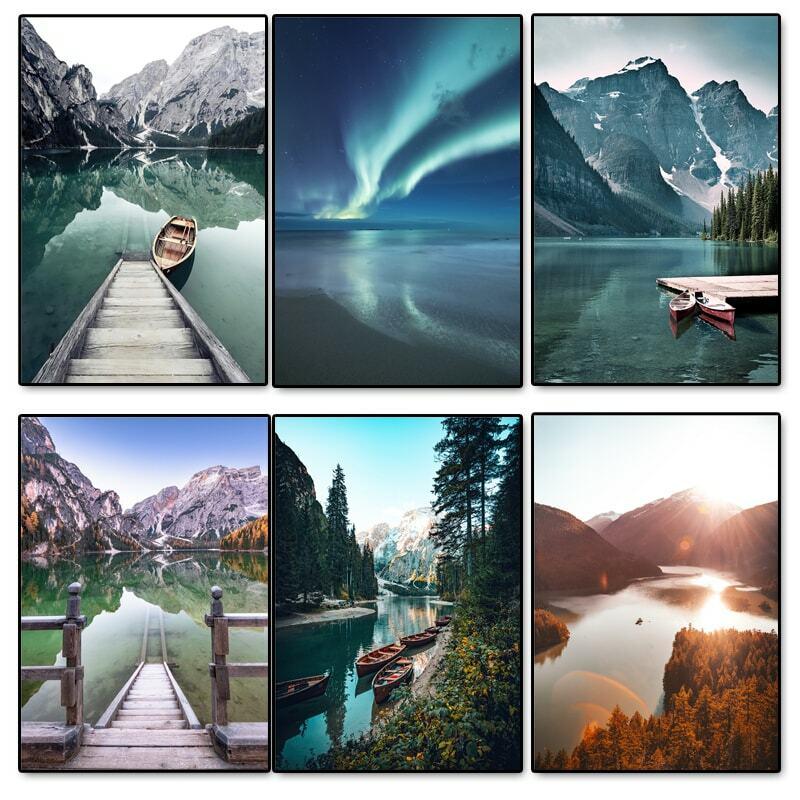 البحيرات والجبال المشهد قماش اللوحة الغابات مشهد المشارك و يطبع جدار صورة فنية لغرفة المعيشة فندق ديكور المنزل