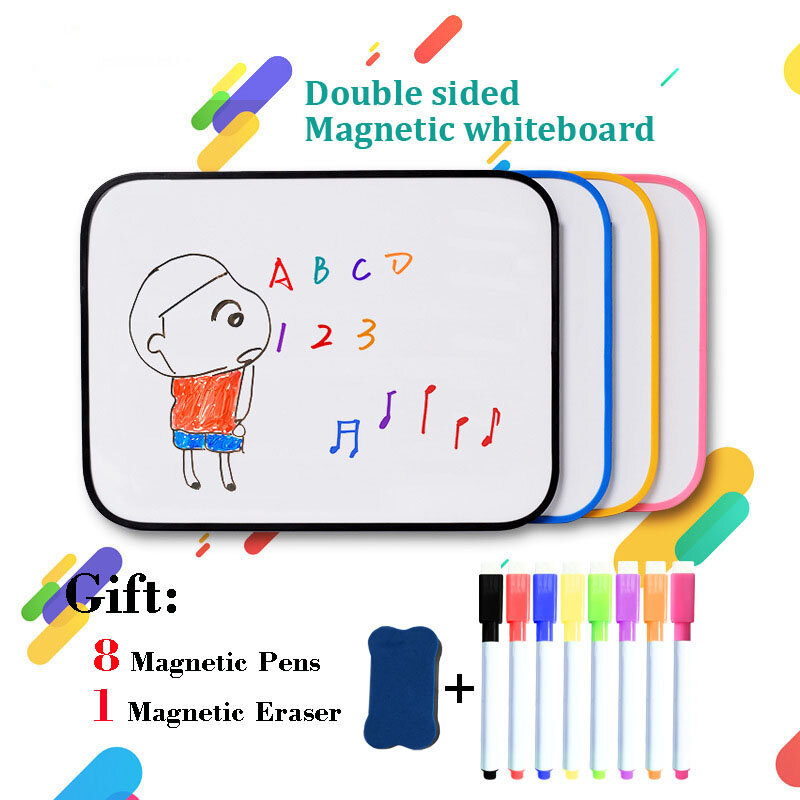 A4 حجم السبورة المغناطيسية الصغيرة على الوجهين الكتابة طفل الجافة محو الرسم مجلس المدرسة الرئيسية ممارسة رسالة لوحة الإعلانات