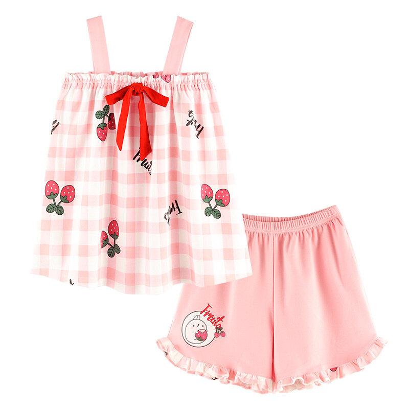 المرأة منامة الصيف جديد حبال السراويل رقيقة الحلو جميل الصيف يمكن ارتداء المرأة المنزل دعوى