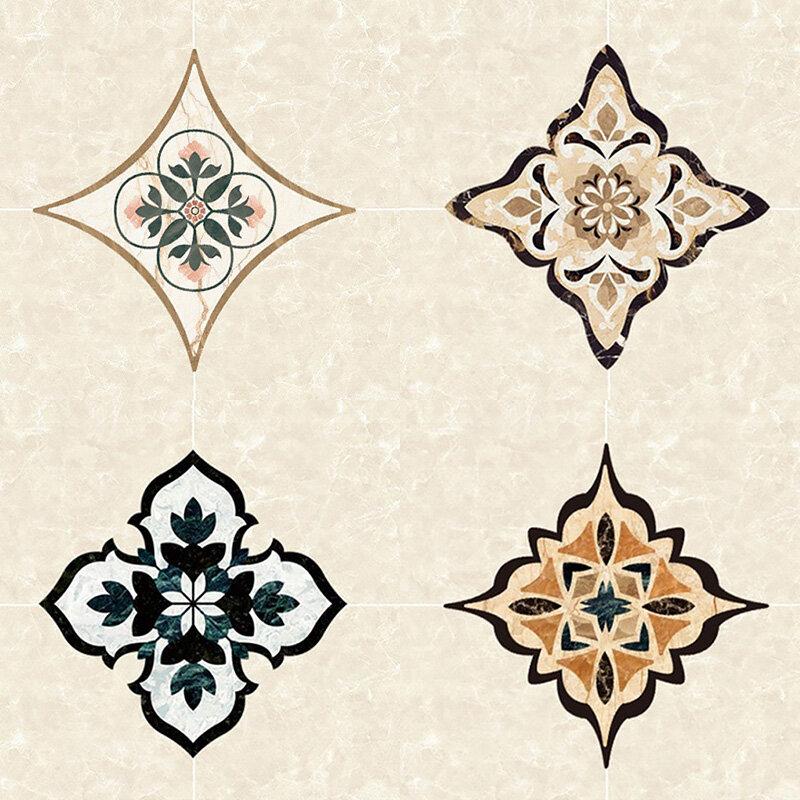 21 قطعة بلاط أرضية قطري ملصقات السيراميك الجدار ملصق الطابق ملصقات ديكور لتزيين الغرف نمط خمر السلس مقاوم للماء ديكور مطبخ
