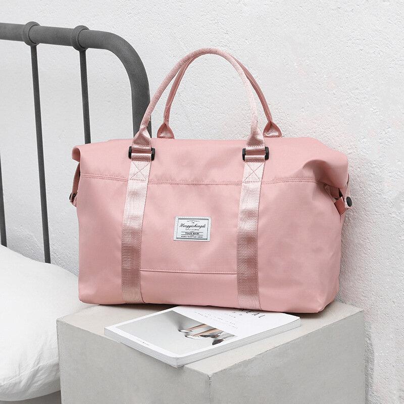 مقاوم للماء حمل على الأمتعة المرأة حقائب السفر كبيرة الوردي أكسفورد حقائب الجافة الرطب فصل الرياضة اليوغا حقيبة اللياقة