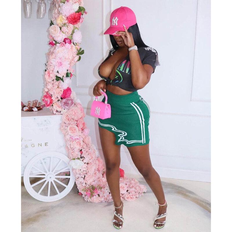 المرأة الرياضية Skort اللياقة البدنية تنورة غير النظامية عادية عالية الخصر مرونة المرأة تنورة مثير حفرة شريط طباعة تنورة قصيرة الرياضة