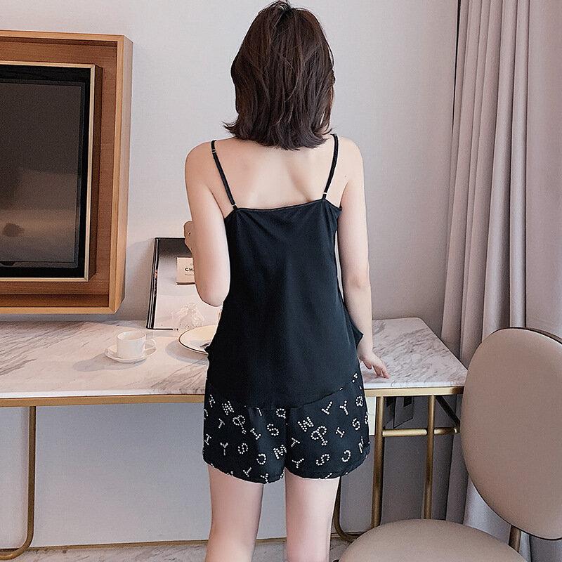 ربيع جديد مثير رداء منامة مجموعة الأسود الخامس الرقبة الحرير الجليد الساتان 3 قطعة ملابس خاصة منامة دعوى فضفاضة عادية المتسكعون مع الصدرية