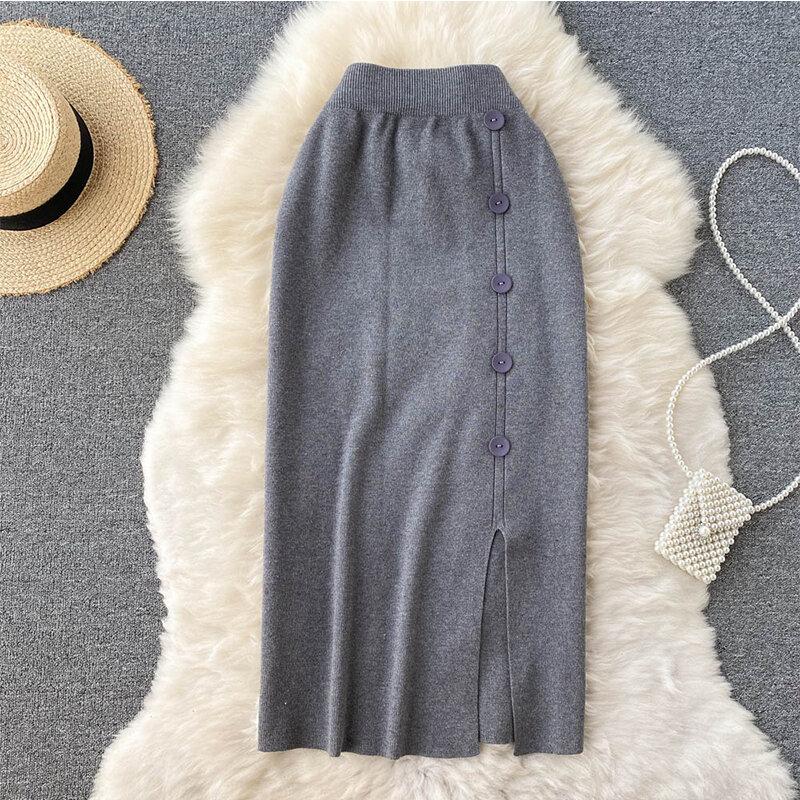 تنورة عالية الخصر موضة هاراجوكو ايه لاين ميدي سبليت Faldas Largas Mujer مكتب سيدة محبوك تنورة ماكسي بيضاء
