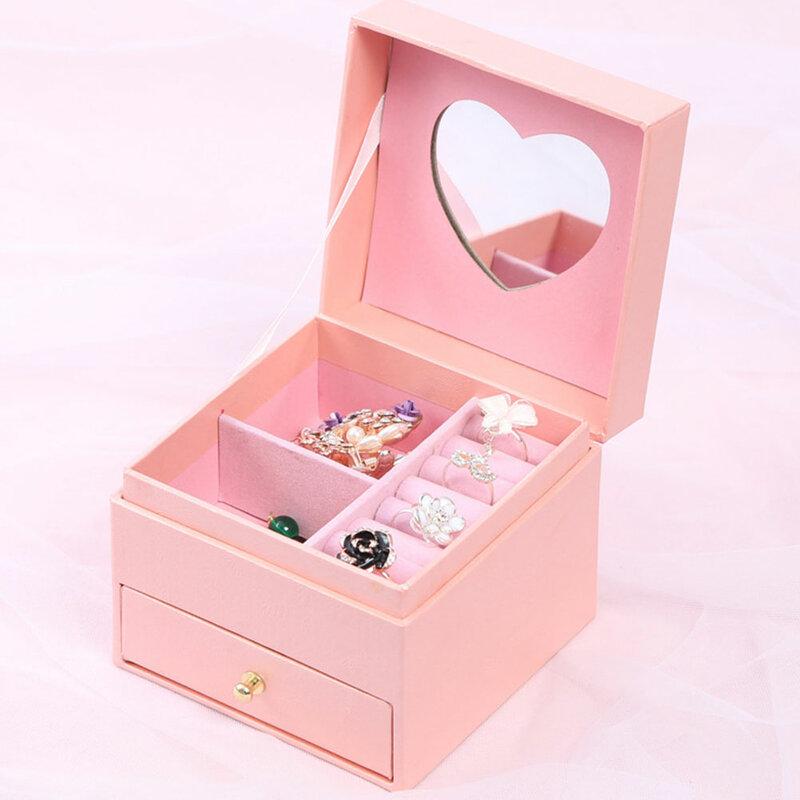 صندوق مجوهرات القرط صندوق تخزين الحاويات المحمولة للنساء مزدوجة درج تخزين قلادة حلقة أقراط مجوهرات هدية صندوق