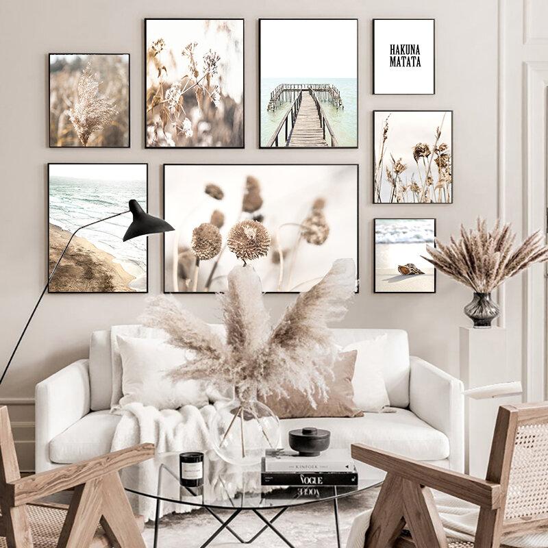 البرية الشاطئ العشب المرج صدف رصيف الرسم على لوحات القماش الجدارية الملصقات والمطبوعات جدار صور لغرفة المعيشة ديكور