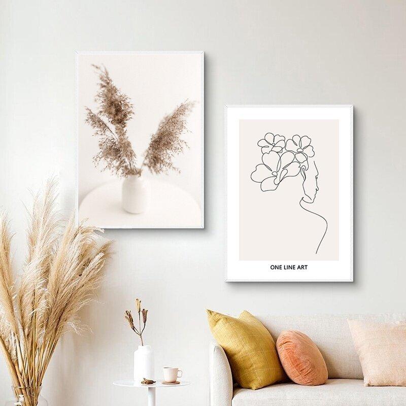 البيج ريد القمح الغابات الجبلية العشب خطوط الرسم على لوحات القماش الجدارية الملصقات والمطبوعات جدار صور لغرفة المعيشة ديكور
