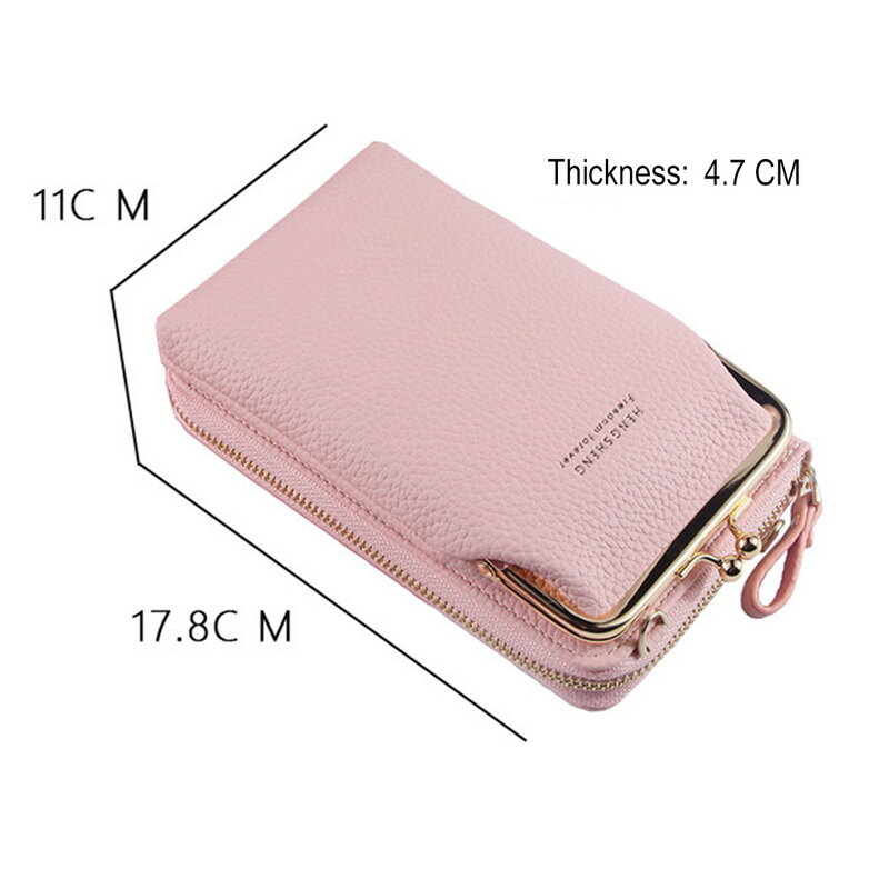 2020 المرأة المحفظة بلون حقيبة كتف صغيرة متعددة الوظائف رسالة الهاتف المال محافظ جيب أكياس مخلب المنظم التخزين