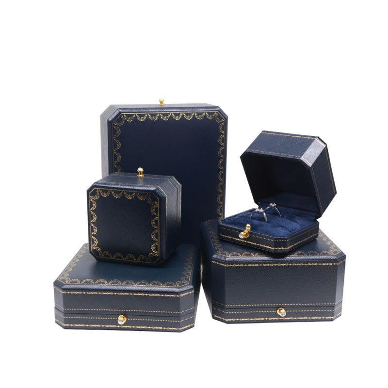 صندوق قلادة خاتم مزدوج من الجلد ، صندوق مجوهرات فاخر ، علب هدايا بزر ذهبي