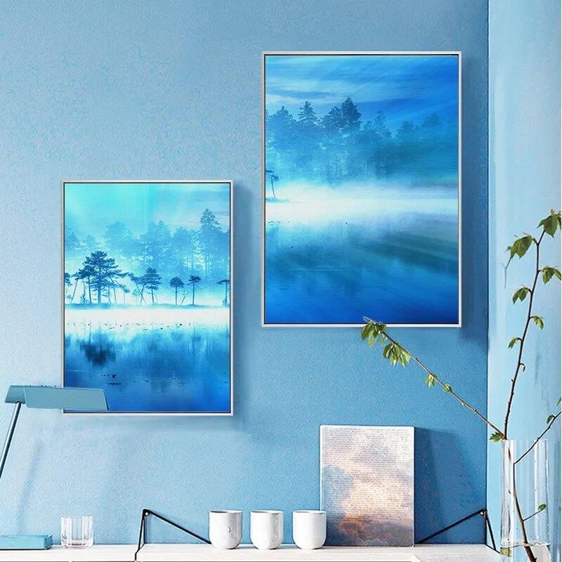 الشمال الديكور الأزرق الغابات المشهد الرسم على لوحات القماش الجدارية المشارك طباعة جدار صور لغرفة المعيشة غرفة نوم ديكور المنزل