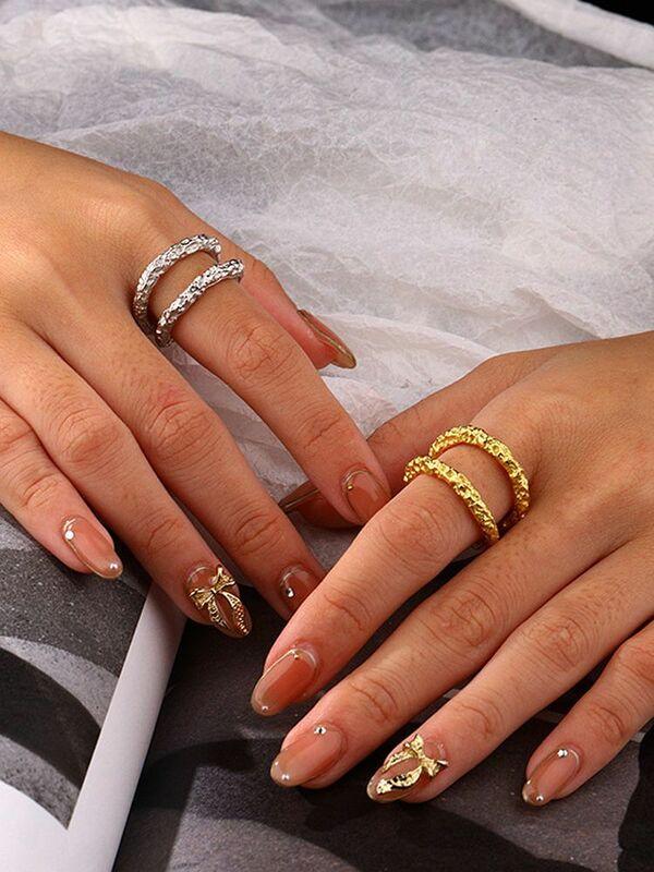 خاتم S'STEEL مصنوع من الفضة الإسترليني عيار 925 بتصميم مطوي هدية شخصية لحفلات النساء بوهو موديل 2021 مصنوع من المجوهرات الرائعة