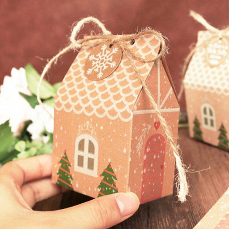 5 قطعة شكل منزل هدية الكريسماس صندوق كرافت ورقة الإبداعية كاندي صندوق بسكويت عيد الميلاد السنة الجديدة الديكور
