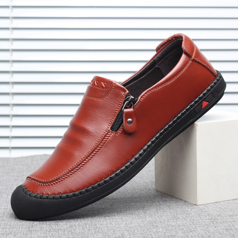 الخريف حذاء رجالي حذاء بدون كعب تنفس الجلود الذكور الشقق موضة الانزلاق على القيادة دوغ أحذية عالية الجودة رجل الأحذية