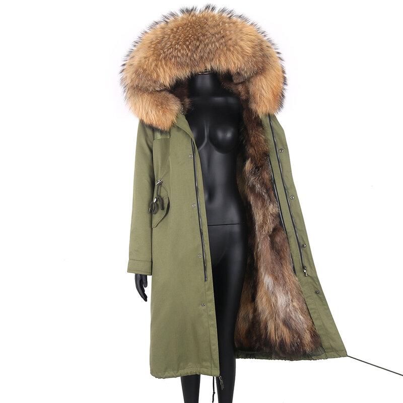 2021 سترة الشتاء 7XL معطف الفرو الحقيقي النساء الطبيعية الثعلب الفراء طوق مقنعين سترة طويلة مقاوم للماء ريال فرو الثعلب بطانة معطف دافئ