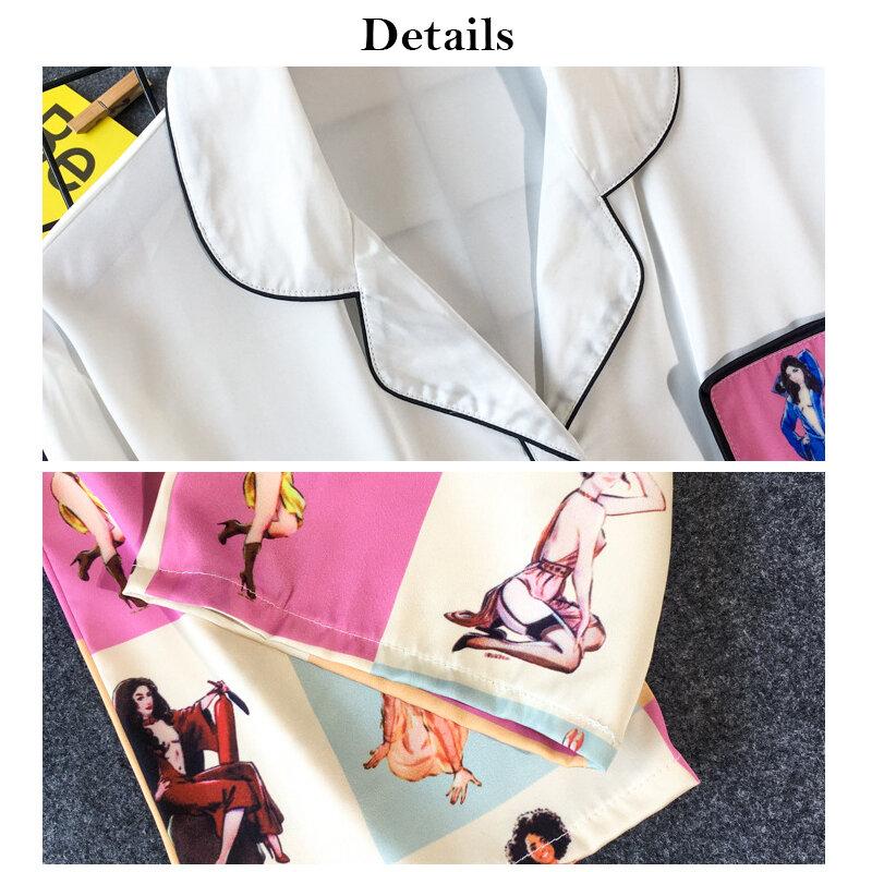 طقم بيجاما من الحرير الصناعي للنساء ، ملابس منزلية مطبوعة ، أنيقة ، غير رسمية ، أكمام طويلة ، ياقة مقلوبة ، قمصان وسراويل ، ملابس نوم