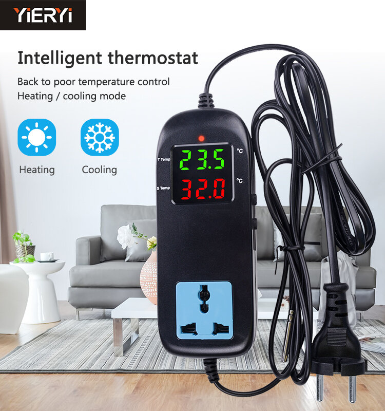 Yieryi MH-2000 AC90V ~ 250 V جودة ثرموستات كهربي LED الرقمية تربية أداة التحكم في درجة الحرارة مزودة بمؤقت المقبس
