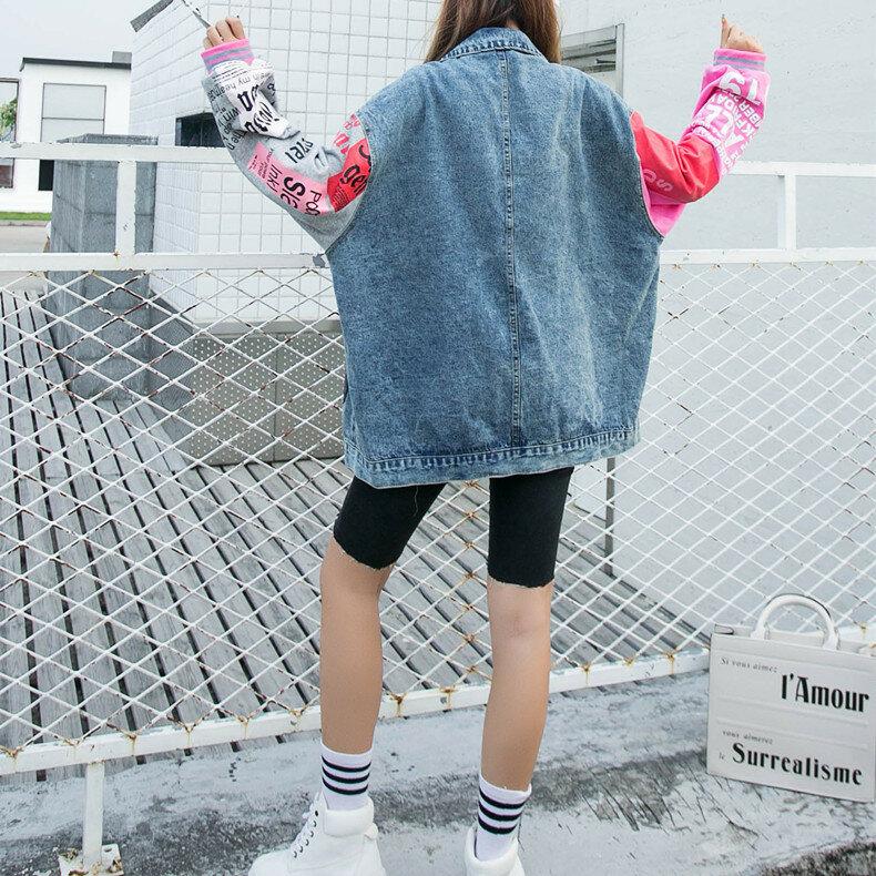 موضة الكرتون الطباعة الدنيم سترة المرأة التطريز الترتر فضفاض جينز غير رسمي جاكيتات واحد حجم كبير الربط كم معطف