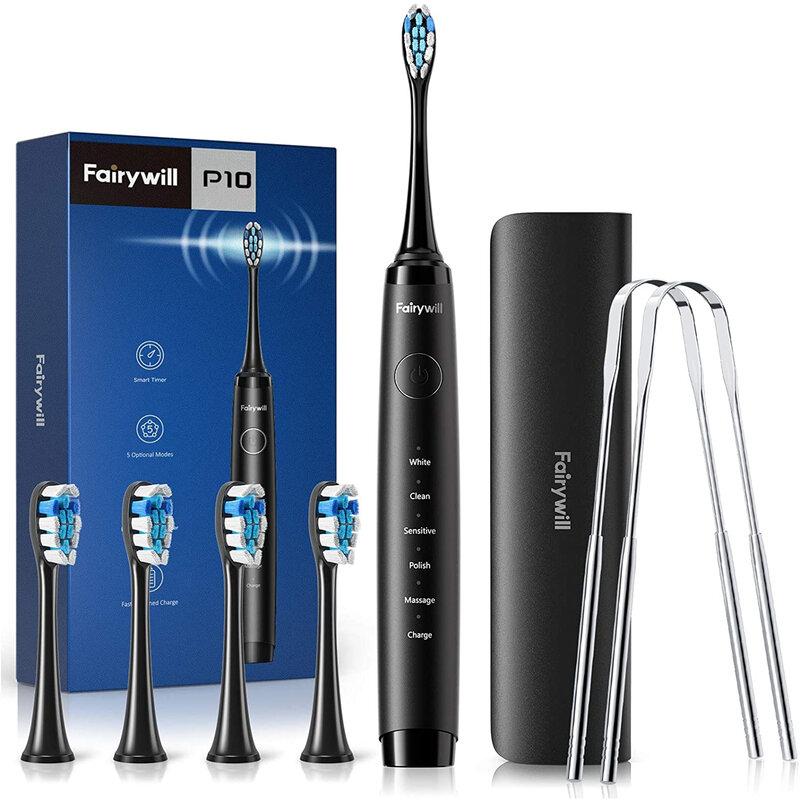 Fairywillفائقة فرشاة أسنان كهربائية بالموجات الصوتية P10 قابلة للشحن 4 استبدال رؤساء الموقت الذكية مع حافظة السفر و مكشطة اللسان
