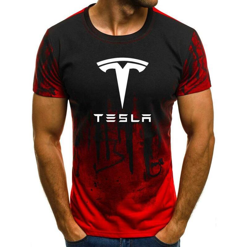 جديد 2020 الصيف تي شيرت رجالي شعار سيارة تسلا المطبوعة عالية الجودة القطن التدرج الرجال عادية قصيرة الأكمام