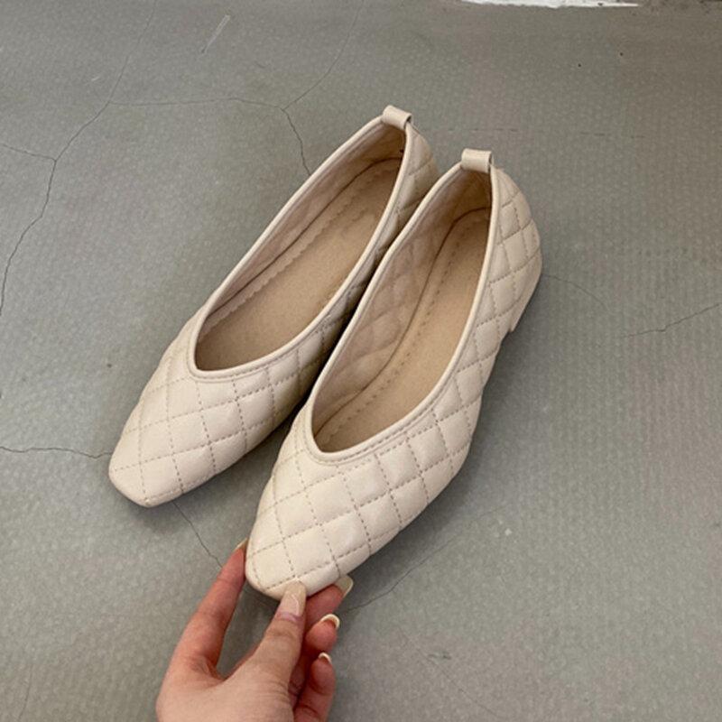 Bailamos جديد الربيع الشقق أحذية الانزلاق على كعب منخفض حذاء راقصة البالية جولة تو الضحلة ماركة متعطل السيدات أنيقة أحذية عمل Mujer