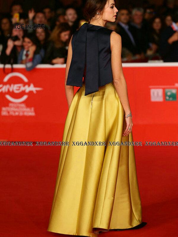 براقة رسمية الذهب ثوب مسائي Kasia Smutniak نجوم روما مهرجان الفيلم مخصص المشاهير فساتين السجادة الحمراء رداء
