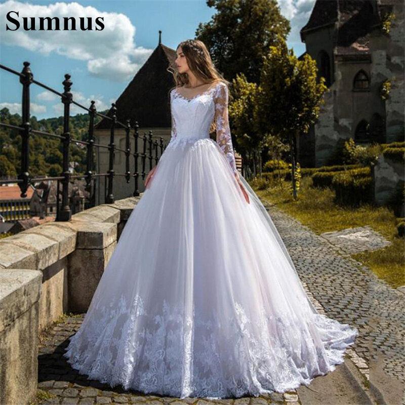 Sumnus فساتين زفاف بأكمام طويلة مزينة بالدانتيل على شكل حرف a مصنوعة حسب الطلب زي العرائس حديقة فساتين زفاف رسمية 2021