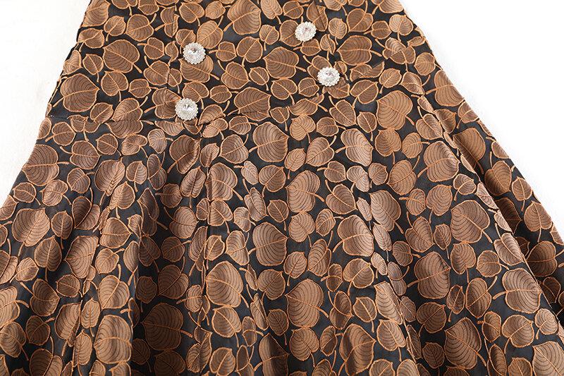 [EAM] عالية الخصر الأسود التطريز خمر زر طويل ألف خط نصف الجسم تنورة المرأة الموضة المد جديد ربيع الخريف 2021 1DE3611