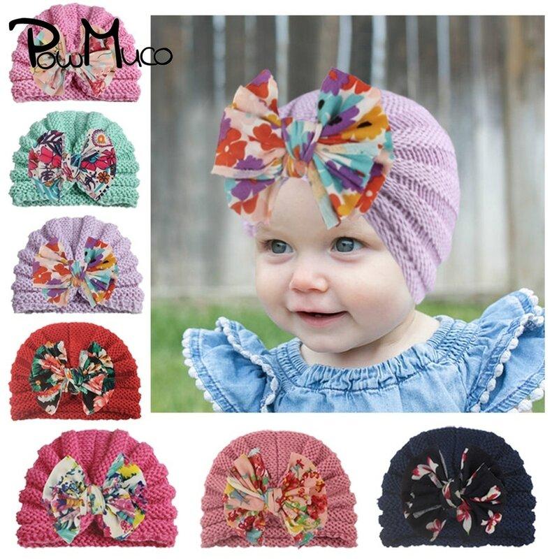 Powmuco الرضع مريحة الدافئة الحياكة الصوف قبعات لطيف طباعة Bowknot طفل الفتيات قبعات صغيرة الملابس الديكور هدايا عيد