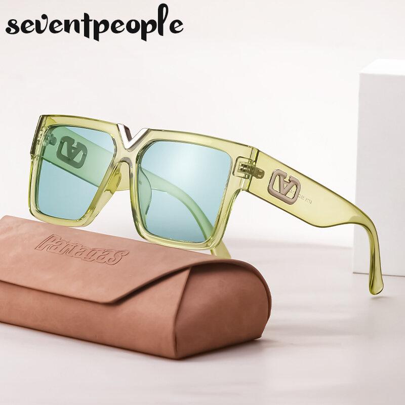 موضة ساحة النظارات الشمسية النساء 2021 الفاخرة العلامة التجارية مصمم العصرية مستطيل نظارات شمسية للرجال