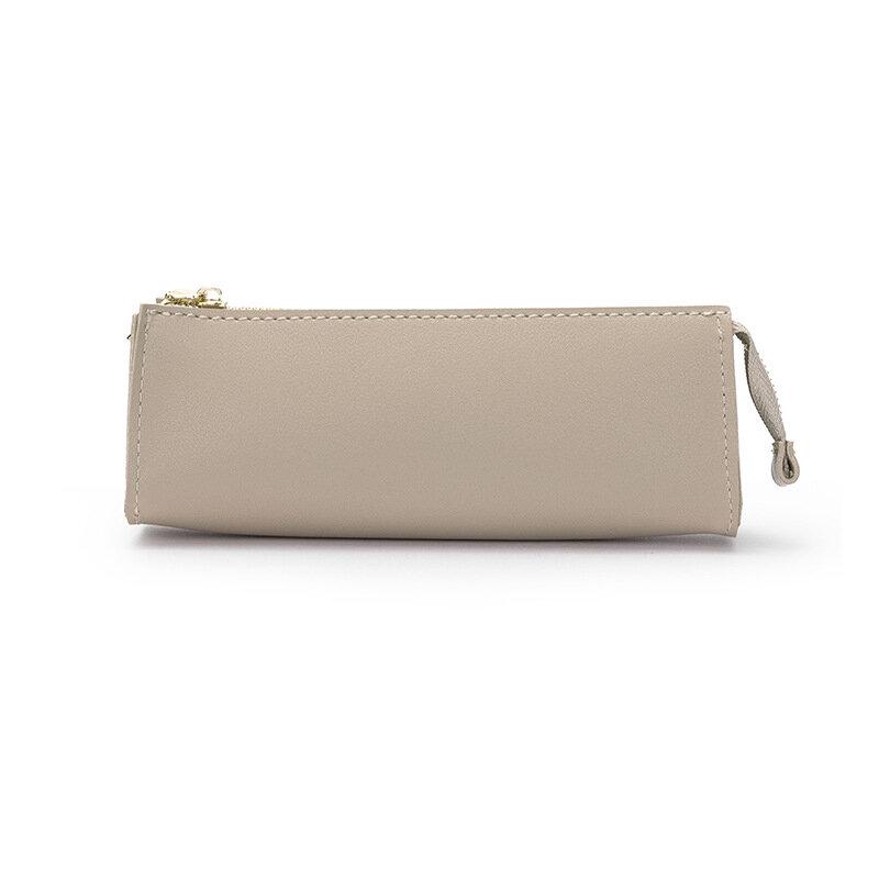 بسيطة الثلاثي مقلمة للرجال والنساء طالب بولي PU حقيبة منتجات تجميل جلدية قلم رصاص الحقيبة الصغيرة مستلزمات السفر