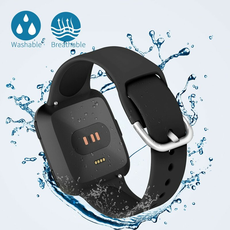 EiEuuk لينة سوار معصم من السيليكون مقاوم للماء حزام الساعات الرياضة حزام استبدال ل Fitbit فيرسا 2/فيرسا لايت