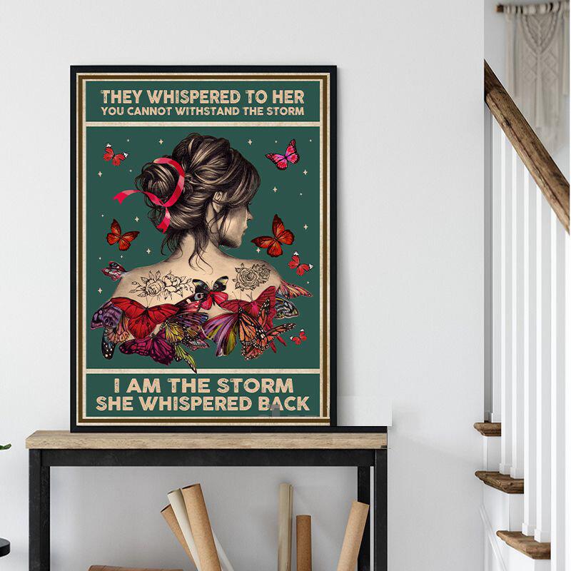 فتاة مع فراشة اليعسوب همس الملصقات يطبع الرسم على لوحات القماش الجدارية جدار صور لغرفة المعيشة ديكور غير المؤطرة
