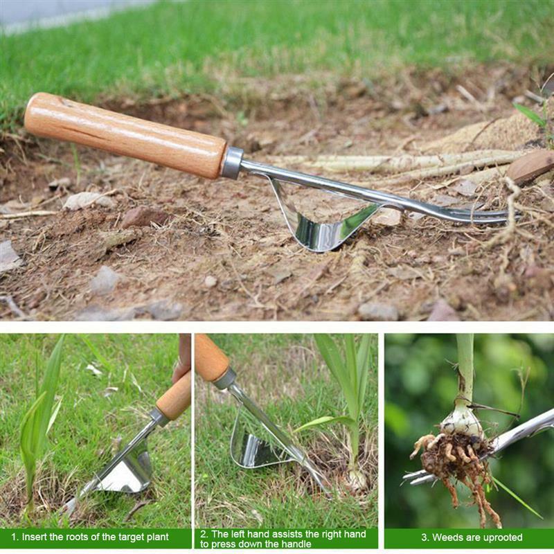 المنازل اليد إزالة الأعشاب الضارة أداة شوكة الفولاذ المقاوم للصدأ المنزلية الهندباء مزيل مجتذب أداة شوكة أدوات الحديقة
