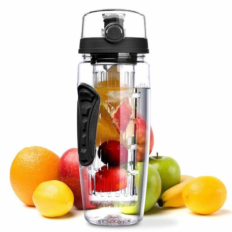 1000 مللي مانعة للتسرب زجاجات لتحلل الفواكه في المياه عصير شاكر زجاجة المياه آمنة صحية صديقة للبيئة السفر التخييم الليمون زجاجة ماء الفاكهة