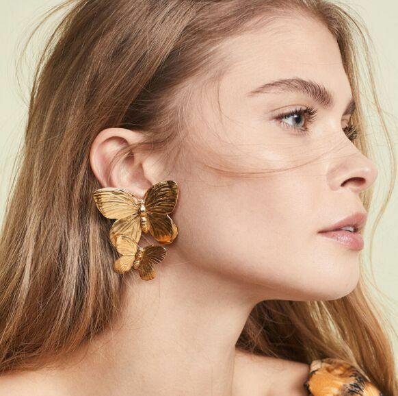 أقراط متدلية فاخرة من الذهب على شكل فراشة كبيرة للنساء بتصميم غير منتظم أقراط متدلية بتصميم بوهو مجوهرات بوكل فيم