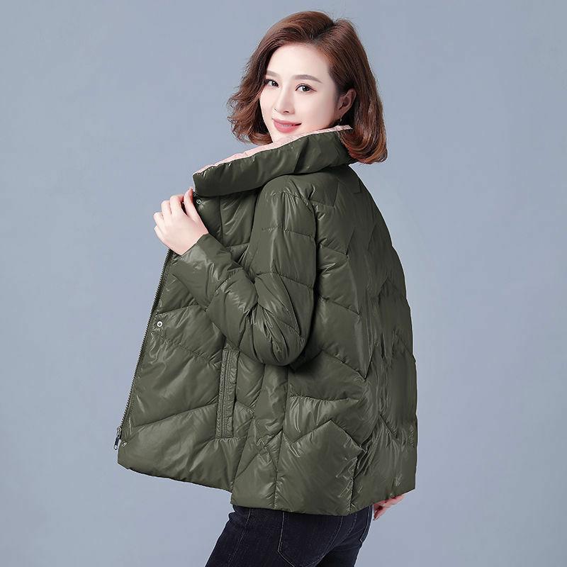 2021 الخريف والشتاء مشرق الوجه وسادة مبطنة المرأة قصيرة فضفاضة الوقوف طوق معطف الإناث موضة جديدة الملابس النسائية