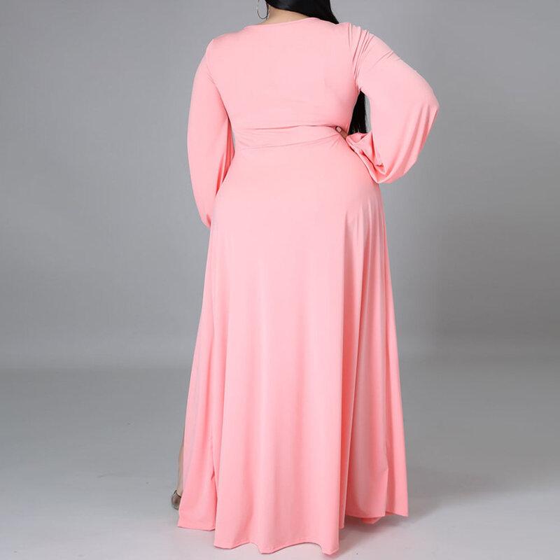 صيف جديد بلون كم طويل مزاجه تخفيف النمط الغربي مثير سبليت شوكة المرأة فستان موضة كبيرة الحجم الأفريقية