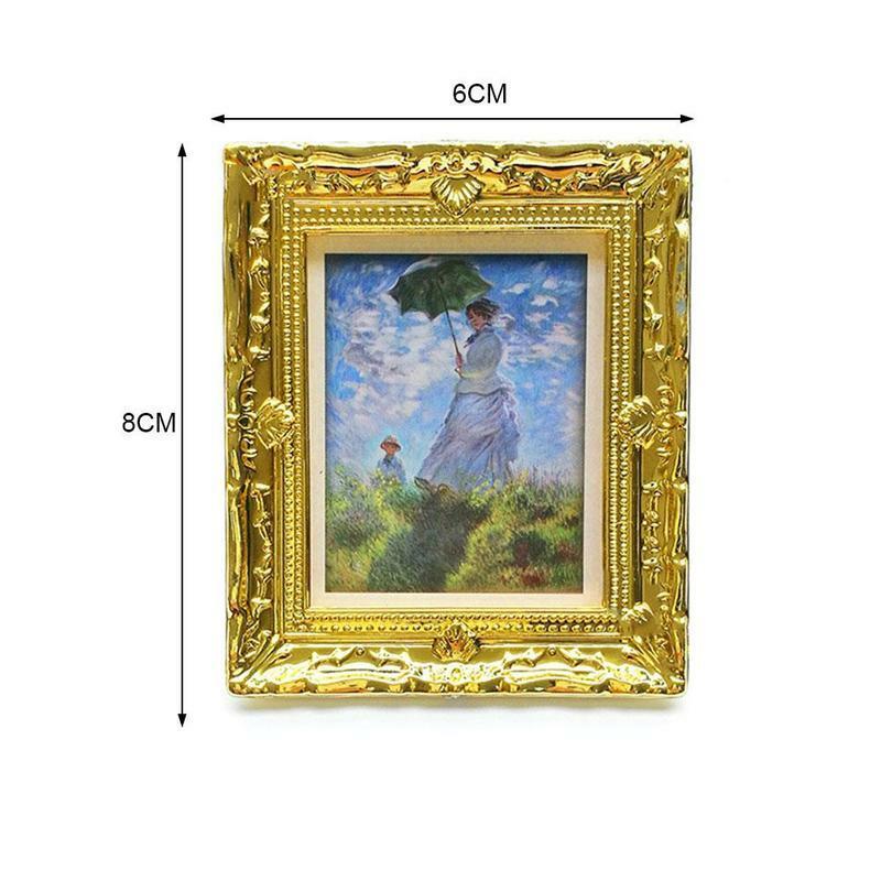 مصغرة دمية مصغرة 1:12 إطار الصورة العتيقة ماني دمية DIY النفط اللوحة منزل الاكسسوارات إطار الزخرفية K3P3