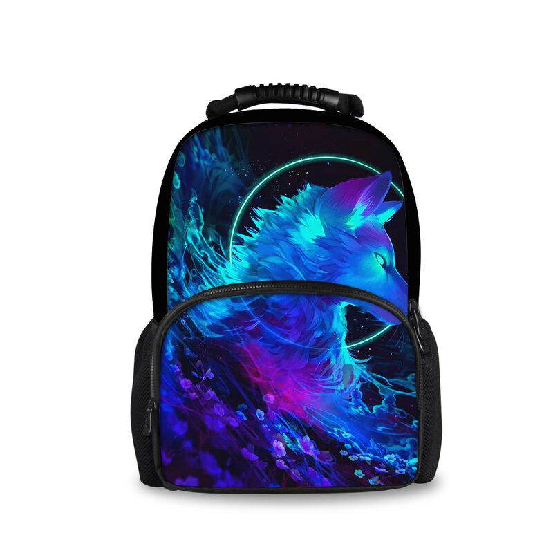 حقيبة ظهر مدرسية مخصصة ، حقيبة ظهر مدرسية ، حيوان ، نجمة ، ذئب كينج ، سفر للرجال والنساء ، للمراهقين
