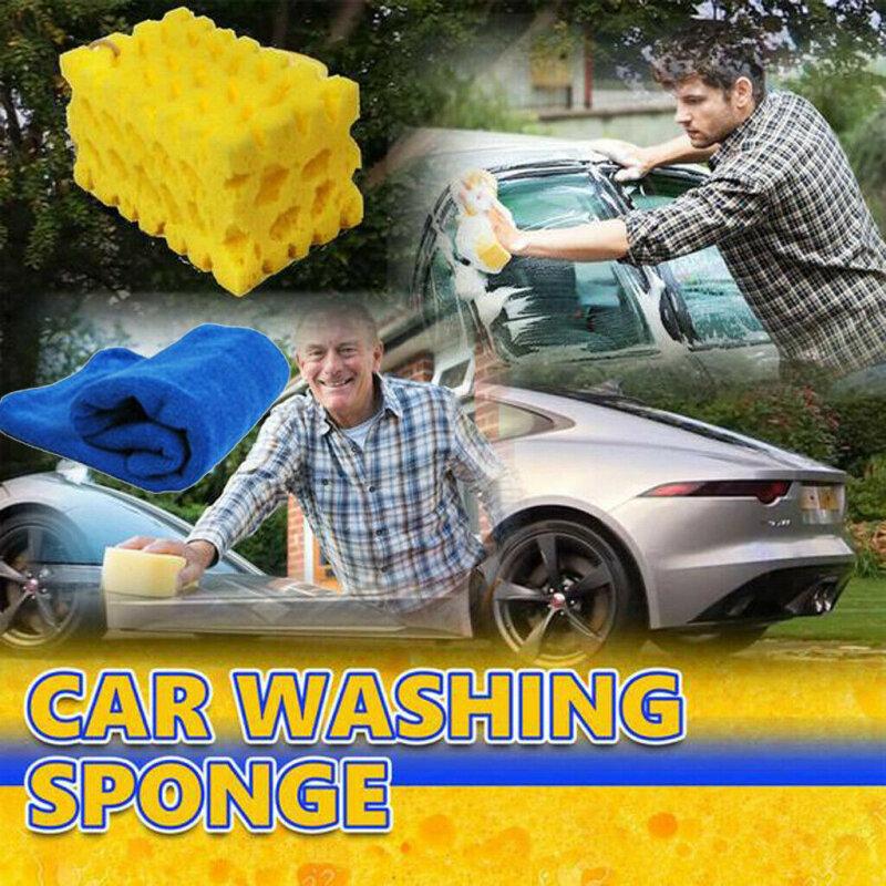 إسفنج غسيل السيارات السيارات تنظيف كبير العسل المرجان الأصفر سميكة كتلة إسفنجية غسل السيارات أدوات اكسسوارات السيارات 16.5 × 10 × 7 سم 1 قطعة