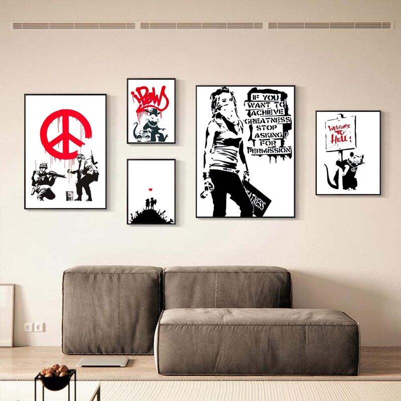 الشمال الأحرف قماش اللوحة فتاة والأحمر بالون جدارية Banksy ملصق فني غرفة المعيشة غرفة نوم بار ديكور المنزل جدارية