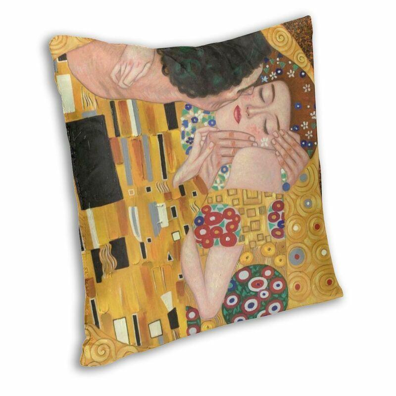 قبلة بواسطة غوستاف كليمت غطاء الوسادة الوجهين طباعة اللوحة الفن رمي كيس وسادة لسيارة مخصص المخدة ديكور المنزل