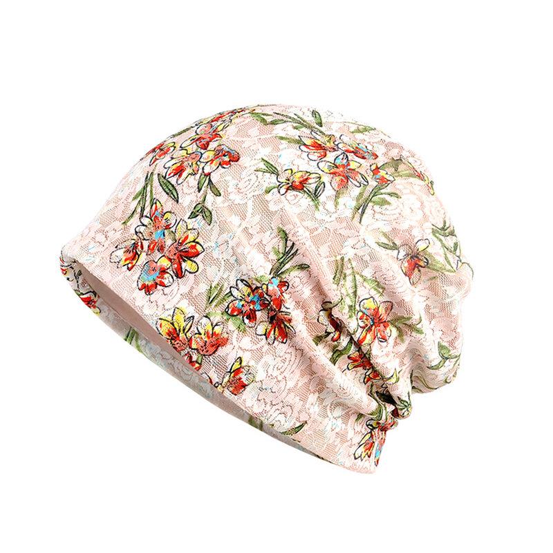 قبعة نسائية فضفاضة من الدانتيل الزهري ، قبعة نوم للحوامل
