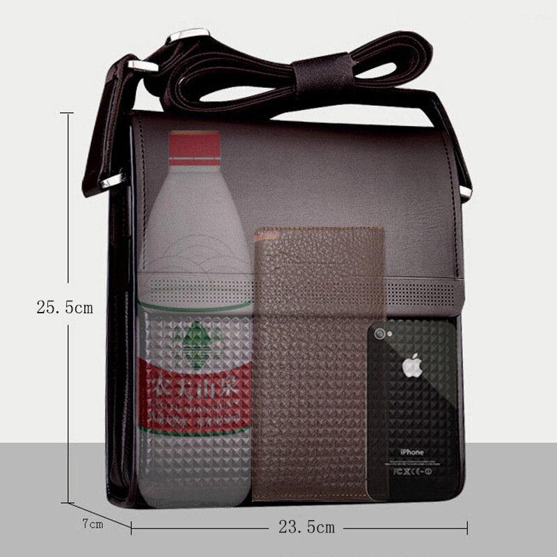 الرجال سعة كبيرة مقاوم للماء بولي Leather جلد واحد الكتف حقيبة كروسبودي حقيبة الأعمال عادية