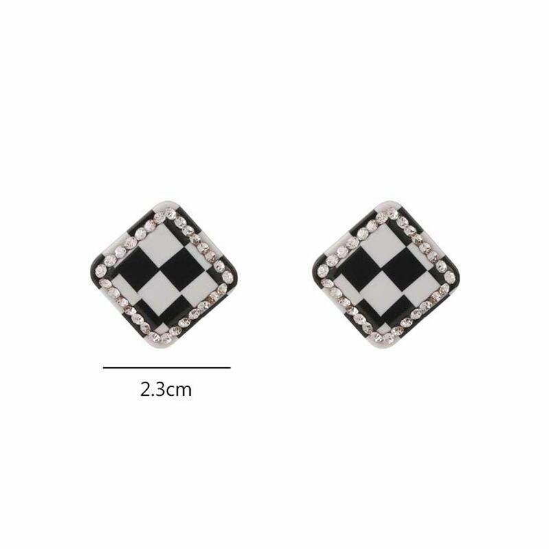 سوبر الجنية خمر أسود أبيض تحقق أقراط هندسية معدن مربع الشكل منقوشة نمط وأقراط للنساء هدايا مجوهرات