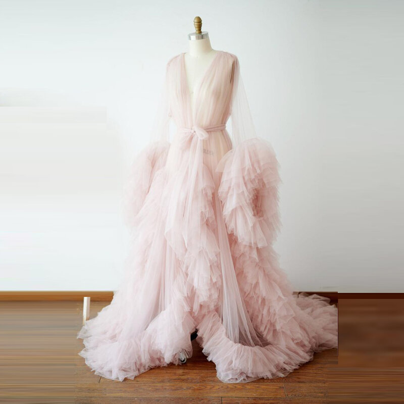 فستان سهرة وردي فاتح مع انتفاضات ، فستان زفاف بأكمام طويلة ، ملابس نوم شفافة ، فساتين حفلات ، مصنوعة حسب المقاس